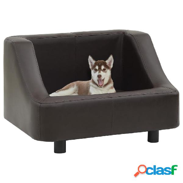 Vidaxl divano per cani marrone 67x52x40 cm in similpelle