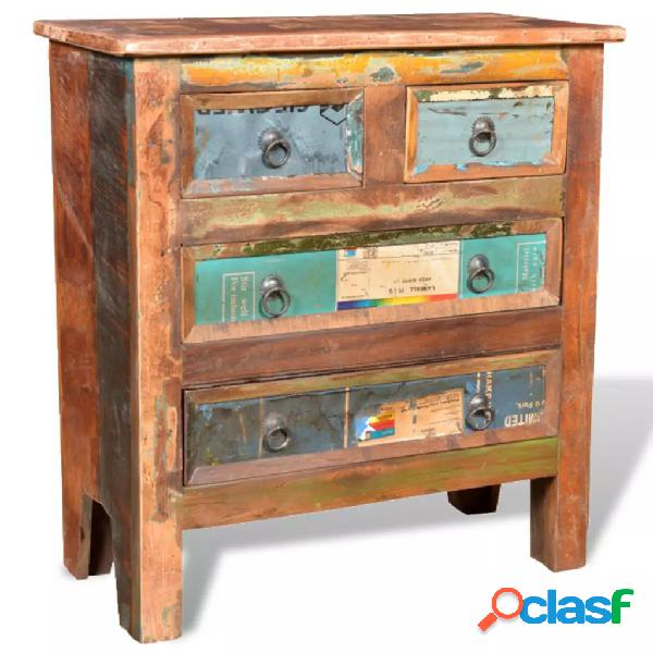 Vidaxl armadietto in legno di recupero con 4 cassetti