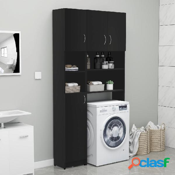 Vidaxl set mobili per lavatrice nero in truciolato