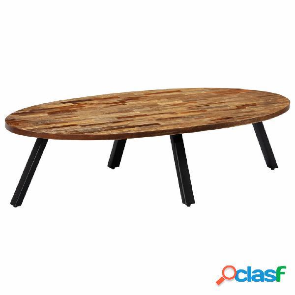Vidaxl tavolino in legno di teak rigenerato ovale 120x60x30 cm