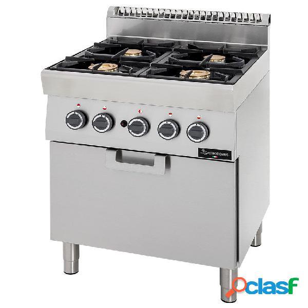 Cucina professionale a gas 4 fuochi forno a gas statico profondità 700 mm