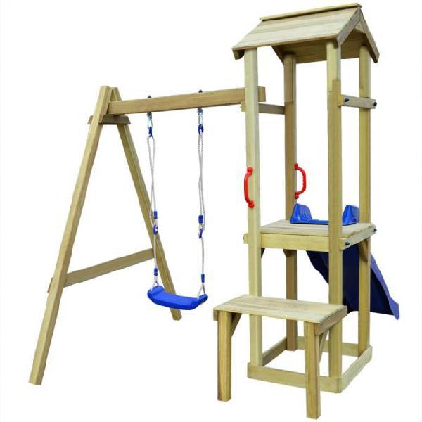 Vidaxl casa giochi scivolo e altalena 228x168x218 cm legno
