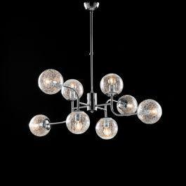 Lampadario moderno in ferro cromo lucido 8 luci cm 93