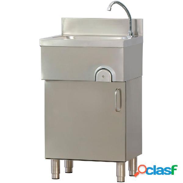 Lavamani per cucina in acciaio inox su mobile, porta a battente, comando a ginocchio l500mm
