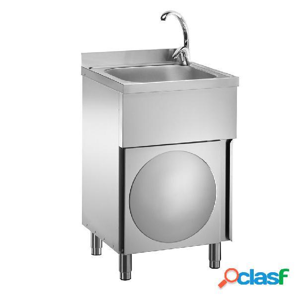 Lavamani per cucina in acciaio inox su mobile con porta battente e miscelatore per acqua calda e fredda