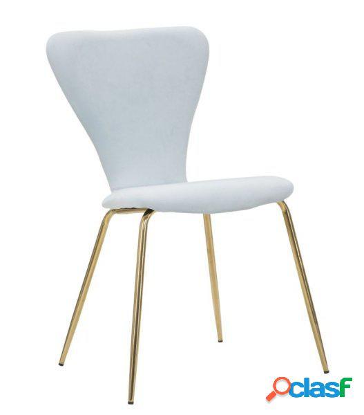 2 sedie moderne effetto velluto celeste e oro