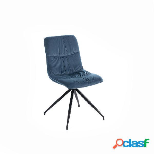 2 sedie moderne effetto velluto colore petrolio