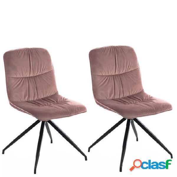 2 sedie moderne effetto velluto rosa antico