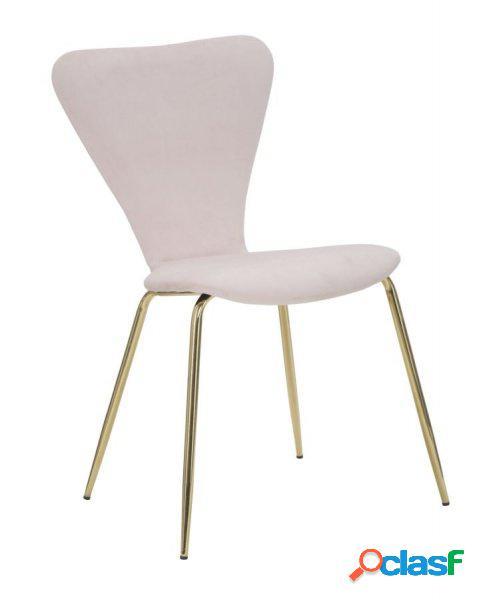 2 sedie moderne effetto velluto rosa e oro