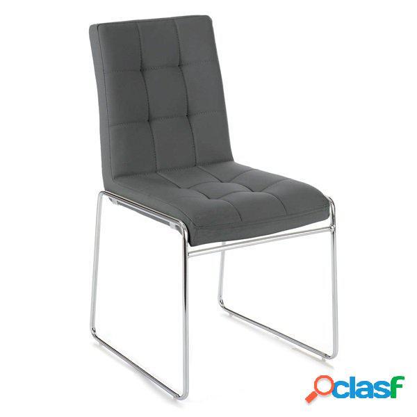 2 sedie moderne in pelle sintetica trapuntata grigia