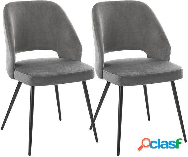 2 sedie moderne in velluto liscio grigio