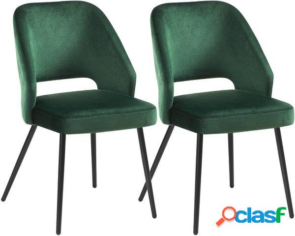 2 sedie moderne in velluto liscio verdone