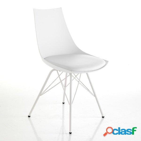 2 sedie moderne zampe a spillo bianche