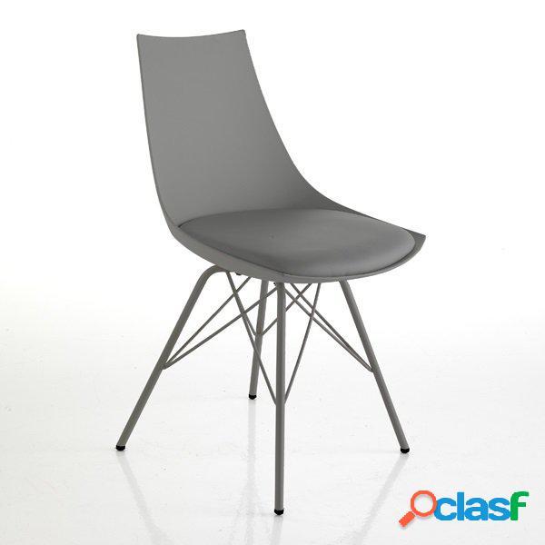 2 sedie moderne zampe a spillo grigio