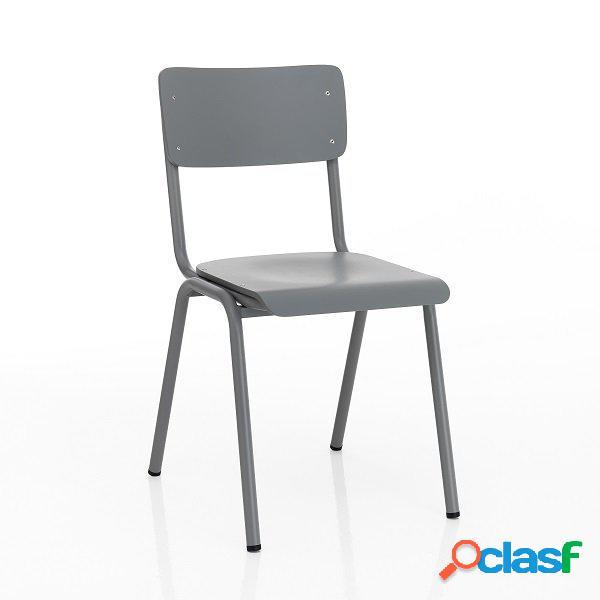 4 sedie moderne e tradizionali scolastiche grigie