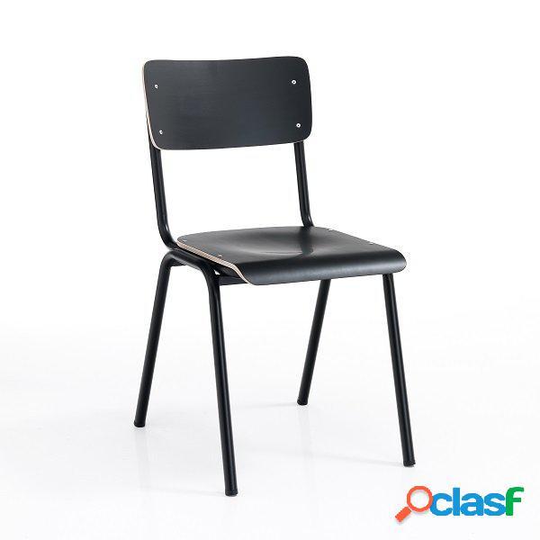 4 sedie moderne e tradizionali scolastiche nero