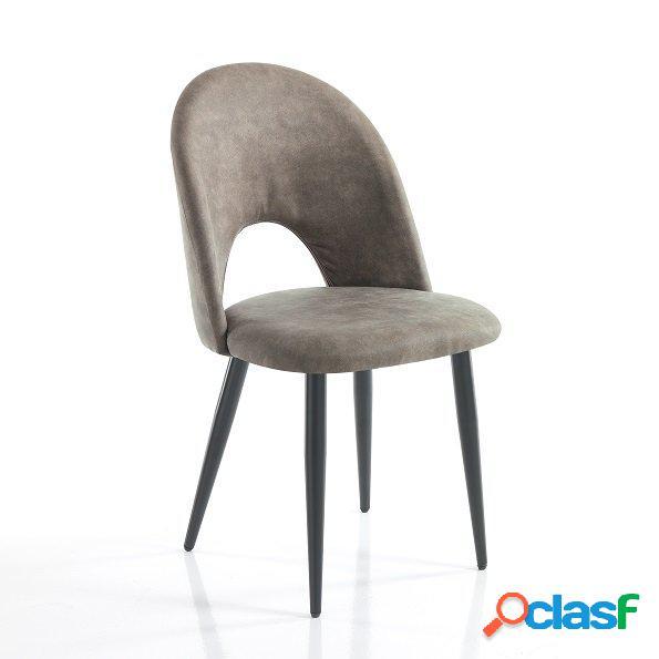4 sedie moderne effetto invecchiato colore grigio