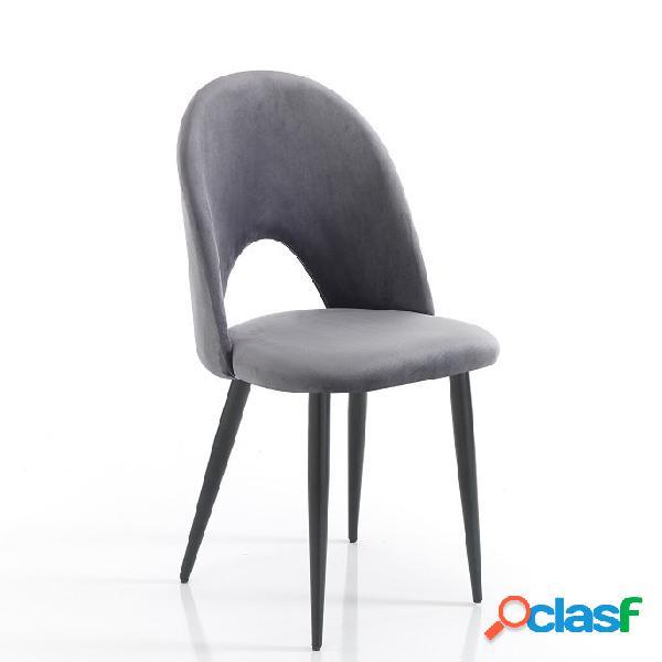 4 sedie moderne effetto velluto grigio