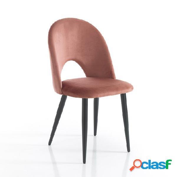 4 sedie moderne effetto velluto rosa cipria