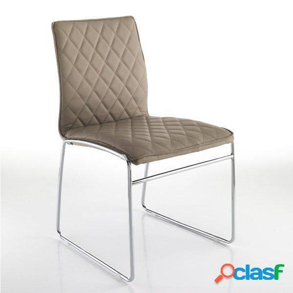 4 sedie moderne in pelle sintetica tortora trapuntata