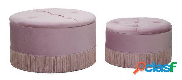 Coppia di pouf tondi apribili stile anni '50 con frange rosa