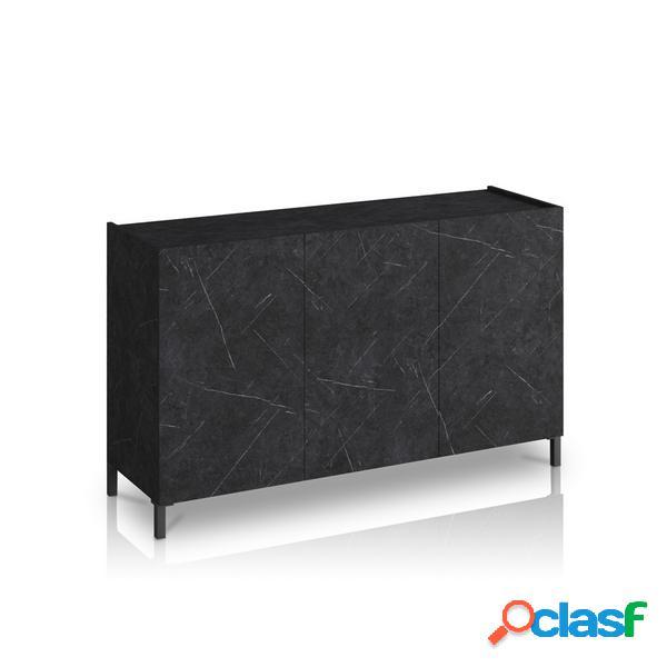 Credenzina 3 ante e ripiani interni effetto marmo nero opaco