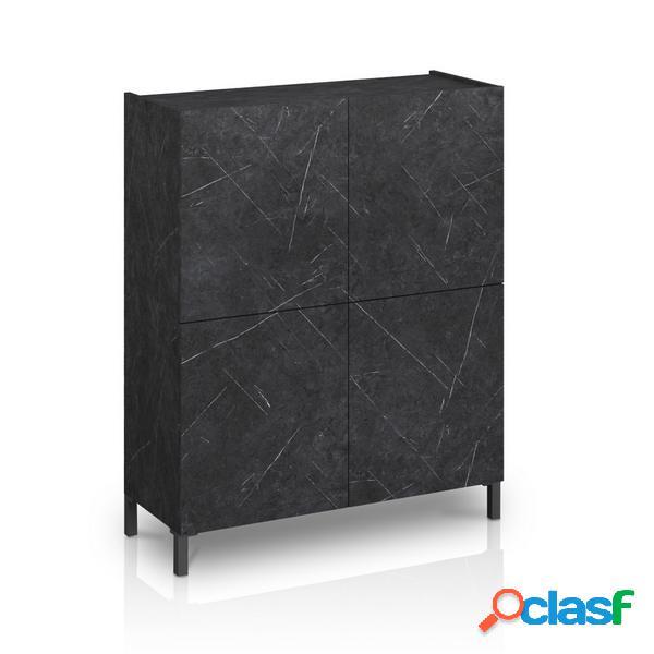 Madia mobile alto 4 ante e ripiani interni effetto marmo nero opaco