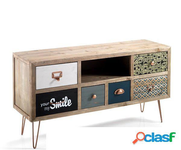 Porta tv vintage 6 cassetti colorati in legno massello di abete