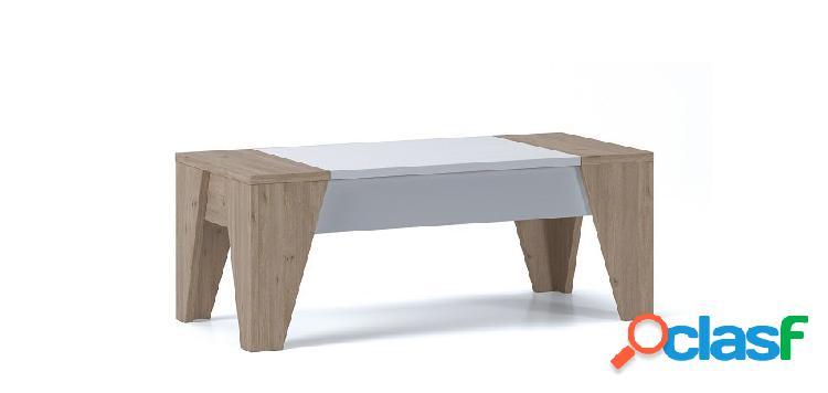 Tavolino contenitore con piana rialzabile bianco e rovere