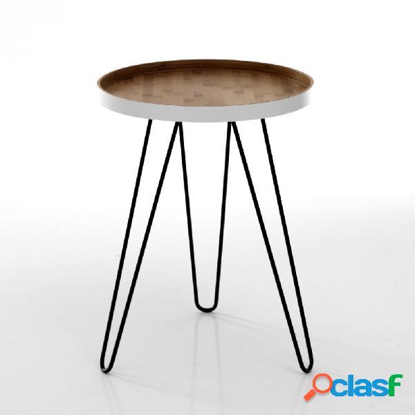 Tavolino in legno di bamboo e bordo bianco