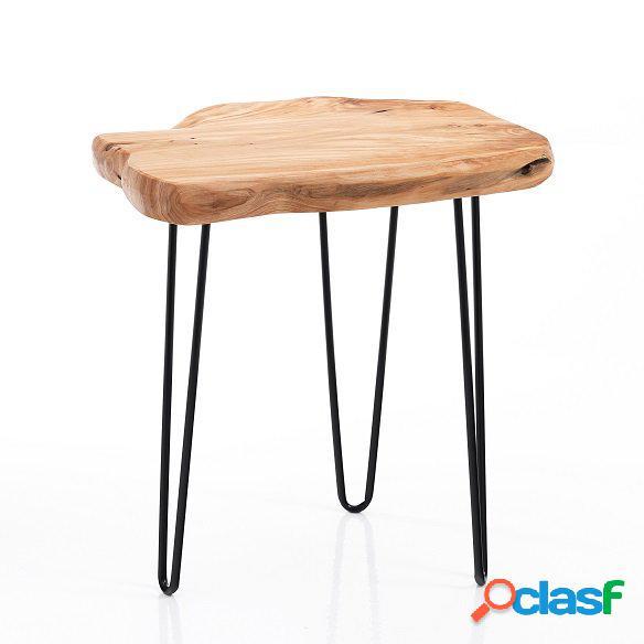 Tavolino in legno massello e zampe a forcina