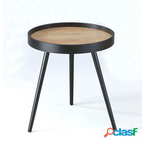 Tavolino in legno massello nero opaco con bordo