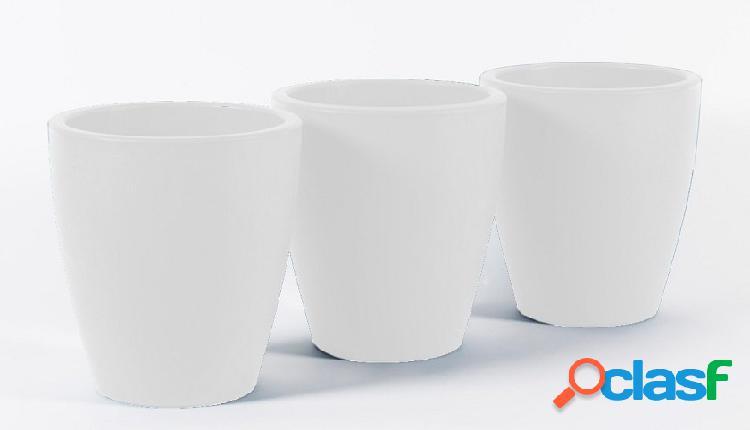 Vaso fioriera moderna rotondo interno/esterno bianco