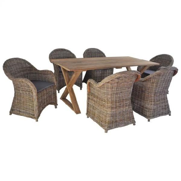 Vidaxl set da pranzo per giardino 7 pz rattan naturale teak