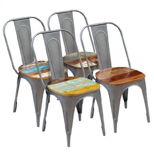 Vidaxl sedie da pranzo 4 pz in legno massello di recupero