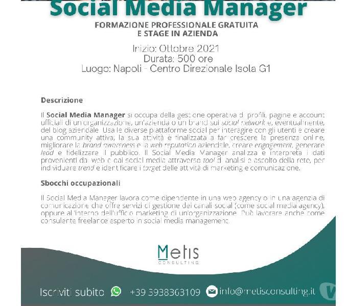 CORSO IN SOCIAL MEDIA MANAGER Napoli - Formazione professionale