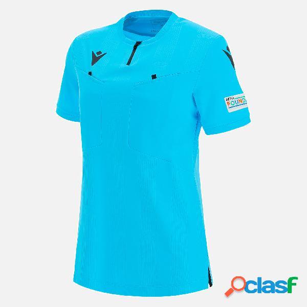Maglia arbitro blu fluo da donna uefa 2021