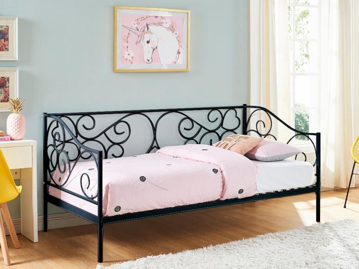 Divano letto vivian - 90 x 200 cm - colore nero - in metallo