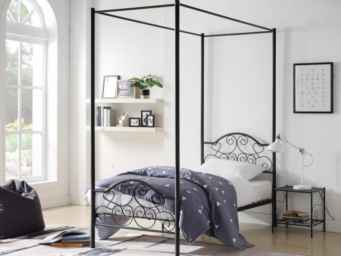 Letto a baldacchino leyna - 90 x 190 cm - metallo - nero