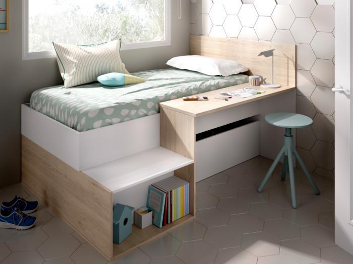 Letto con contenitore e 1 scrivania 90 x 190 cm bianco e