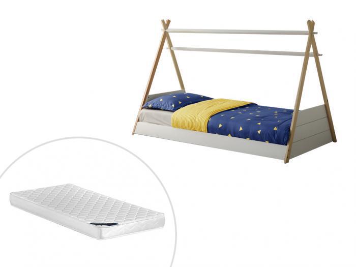 Letto tepee per bambini con materasso 90 x 190 cm in abete
