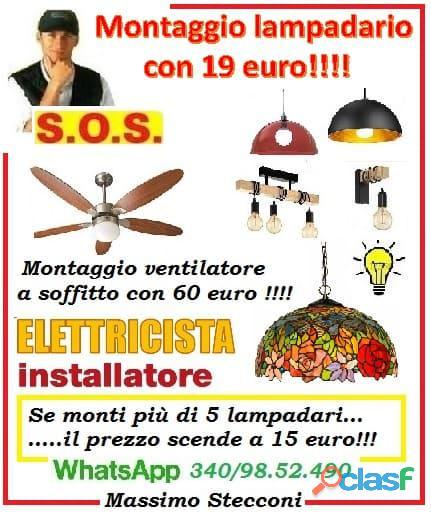 Mano d'opera montaggio lampadario a Roma con 19 euro