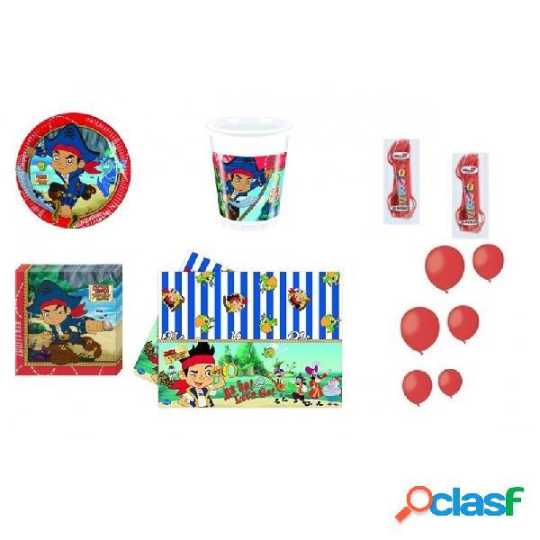 Kit 6 - 213 pz. addobbi compleanno jake e i pirati + forchette e palloncini rossi