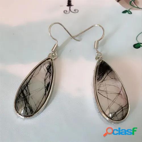 Fashion women black rutile dangle earrings with 18k white gold waterdrop antique natural rutile drop earring gift for girlfriend anniversary earrings