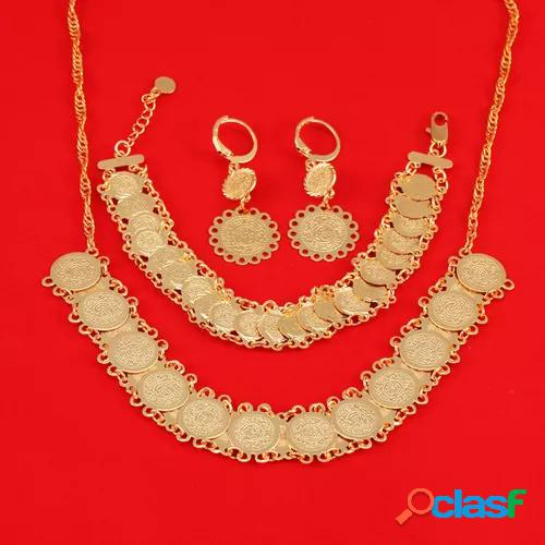 Dubai gold plated jewelry set for women african ethiopian jewelry antique coin bracelet earrings necklace set