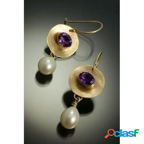 Antique 18k yellow gold natural gemstone amethyst pearl earrings wedding engagement fine jewelry