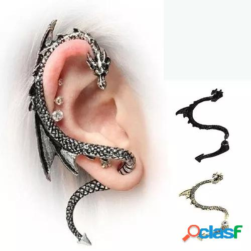 European and american exquisite fashion gothic 925 sterling silver men's rock earrings 18k gold women's dragon rings antique party earrings