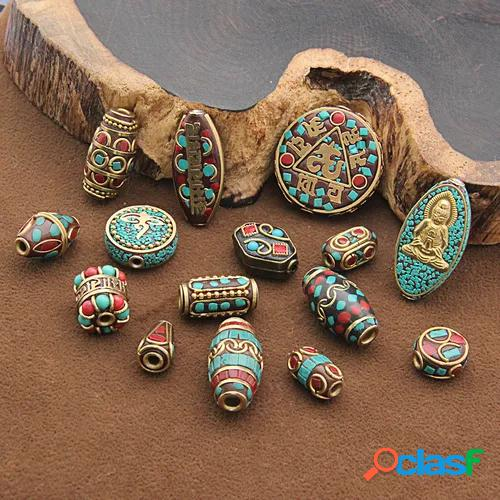Retro nepal beads handmade red coral tibetan bead antique golden jewelry making diy bracelets