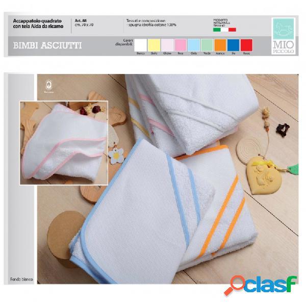 Accappatoio neonato a triangolo da ricamare con tela aida mio piccolo vari colori