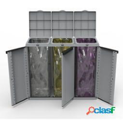 Contenitore ecocab 3 per raccolta differenziata - 102x39x88,7 cm - 3 portasacco da 110 l ciascuno - terry (unit vendita 1 pz.)